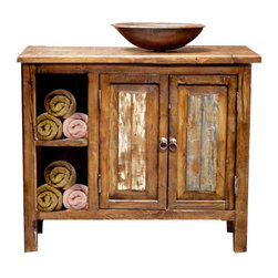 Bathroom Vanity with Storage, 24x20x32 - A very rustic reclaimed wood vanity. Extra storage on the side for towels and other decor or accessories. Our reclaimed wood comes from a variety of old barns and stables in Mexico. The wood is sanded down to a smooth touch and then finished with a hand rubbed wax that protects the wood.