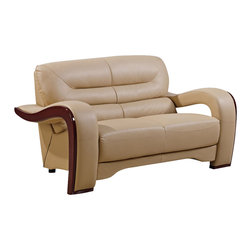 Global Furniture - Global Furniture USA 992-RV Bonded Leather Loveseat in Cappuccino - Modeled to cater to both the desires of the contemporary or transitional home for design and comfort this loveseat upholstered in bonded cappuccino leather and leather match will be a great choice for your living room. It features plush seating, and the curved details add the perfect finish touch.