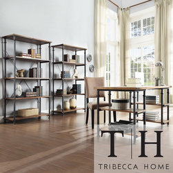 Tribecca Home - Tribecca Home Myra Vintage Industrial Modern 3-piece Desk and 40-inch Bookcase S - This Myra desk and bookcase has a weathered and timeworn patina allowing traces of natural wood and original colors to show through. A shelf design provides storage for books, magazines and other decorative items.