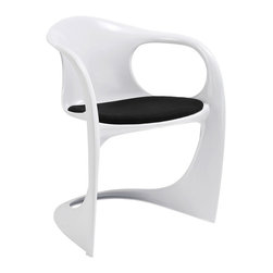 Modway Furniture - Modway Sequence Dining Armchair Chair in Black - Dining Armchair Chair in Black belongs to Sequence Collection by Modway It is one thing to fashion a chair with a sleigh base, but it is altogether something different to transform a chair into a sleigh. Sequence captures the wind and snow-swept journey into a timeless piece molded of durable ABS plastic and attached red fabric cushion. The design elements are mobius, conveying the flowing transition between two and three dimensional elements, while the mid-air seat suspension imparts a sense of continuous momentum. Set Includes: One - Sequence Dining Chair Arm Chair (1)
