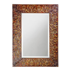 Howard Elliott - Fletcher Metal Mirror - Our Fletcher mirror is made of metal and has an antique red and copper finish with hints of verde and black accents. The frame has textured embossed accents all around.