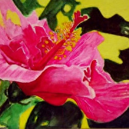 Pink Lady Hibiscus (Original) by Elizabeth Current - This iis painted with watercolor on recycled plastic board gessoed with Daniel Smith watercolor medium..   It is sealed with Krylon uv acrylic sealant.