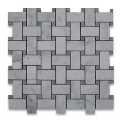 """Stone Center Corp - Calacatta Gold Marble Basketweave Mosaic Tile Gray Dots 1x2 Honed - Calacatta gold marble 1"""" x 2"""" rectangle pieces and Bardiglio Gray 3/8"""" dots mounted on 12"""" x 12"""" sturdy mesh tile sheet"""
