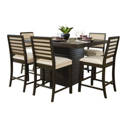 Homelegance - Homelegance Miles 7 Piece Dining Table Set in Dark Espresso - Homelegance - Dining Sets - 2455DC367 - The clean contemporary lines of the Miles Collection are softened by the tropical veneers that elegantly wrap the apron of the table. Raised horizontal paneling wraps the substantial dual table base. Finished in a rich dark espresso each piece of the collection is accented by the beige linen seat covers and backs. Coordinating server features the unique paneling found on the table bases and features finger pull hidden door and drawer storage. Also available in counter height dining.