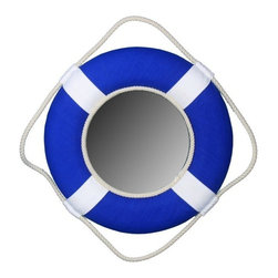"""Handcrafted Model Ships - Blue Lifering Mirror with White Bands 15"""" - Beach Bedroom - Nautical themed lifering mirrors are a great addition to any room, office, or boat, and are excellent for completing the nautical mood that you can only get from sailing the seas. This Vibrant Blue Lifering Mirror is enveloped by the lightweight styrofoam lifering which is accented with authentic hand stitched white canvas straps. A bright new grab rope surrounds the lifering and makes hanging and displaying the Lifering Mirror a breeze. The classic colors of the Lifering Mirror are perfect for recreating a seagoing experience in the comfort of your own home. Dimensions: 15"""" L x 2"""" W x 15"""" H"""