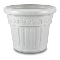 "PLC - Granite Planter - Large decorative planter made of high density polyethylene resin. Won't chip or crack in cold weather. Dimensions: 18"" tall x 21"" diam."