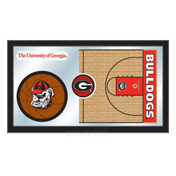 "Holland Bar Stool - Holland Bar Stool Georgia Basketball Mirror - Georgia Basketball Mirror belongs to College Collection by Holland Bar Stool The perfect way to show your school pride, our basketball Mirror displays your school's symbols with a style that fits any setting.  With it's simple but elegant design, colors burst through the 1/8"" thick glass and are highlighted by the mirrored accents.  Framed with a black, 1 1/4 wrapped wood frame with saw tooth hangers, this 15""(H) x 26""(W) mirror is ideal for your office, garage, or any room of the house.  Whether purchasing as a gift for a recent grad, sports superfan, or for yourself, you can take satisfaction knowing you're buying a mirror that is proudly Made in the USA by Holland Bar Stool Company, Holland, MI.   Mirror (1)"