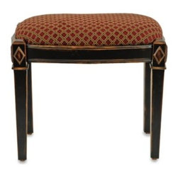 Safavieh - Safavieh American Home Lindy Black Ottoman/Stool - Elegant and refined, this traditionally styled ottoman features highly detailed wood legs and a beautiful diamond pattern on the rust colored cotton fabric.