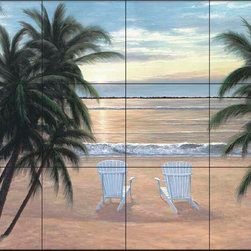 The Tile Mural Store (USA) - Tile Mural - Dr - Life Is Good - Kitchen Backsplash Ideas - This beautiful artwork by Diane Romanello has been digitally reproduced for tiles and depicts two chairs on the beach welcoming the sunset.  Beach scene tile murals are great as part of your kitchen backsplash tile project or your tub and shower surround bathroom tile project. Waterview images on tiles such as tiles with beach scenes and sunset scenes on tiles.  Tropical tile scenes add a unique element to your tiling project and are a great kitchen backsplash  or bathroom idea. Use one or two of our beach scene tile murals for a wall tile project in any room in your home for your wall tile project.