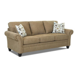 Klaussner - Contemporary Sofa with Arm Pillows - Fabric upholstery. Knife edged back cushions. Bordered, three over three seat cushions. Sofa with Bentley pattern. Two pillows with dial pattern. Petite, flared arms are pleated and paneled for more feminine appeal. Pillows place texture and color into the mix. Panels meet the straight and front border. Tapered, block legs. Mocha and mink color. Made in USA. Seat: 72 in. L x 23 in. W x 22 in. H. Overall: 94 in. L x 38 in. W x 30 in. H (119 lbs. ). So fresh and so clean, the Hubbard collection with hip good looks.