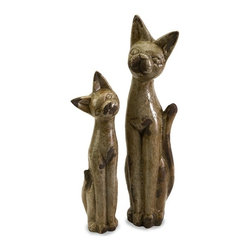"IMAX CORPORATION - Aoloni Ceramic Cat Figurines - Set of 2 - With a playful tilt to the head, the Aolini Cat Figurines feature the elongated bodies and long ears typical of Egyptian cat figurines, but with a contemporary twist. Set of 2. Set of 2 in various sizes measuring around 20.75""L x 12""W x 15.5""H each. Shop home furnishings, decor, and accessories from Posh Urban Furnishings. Beautiful, stylish furniture and decor that will brighten your home instantly. Shop modern, traditional, vintage, and world designs."