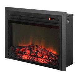 Muskoka - Muskoka 25-in Plug-In Electric Fireplace Insert -MFB27TBL3A-5 - The Muskoka 25-inch Plug-In Electric Fireplace Insert has a traditional wood-burning log aesthetic. The wide 25 inch firebox is self trimming and offers an easy-to-use touch pad for manual operation of the unit. Using the included handheld remote, it is easy to set the desired heat setting (High or Low) as well as adjust the flame from any of the 3 available settings.