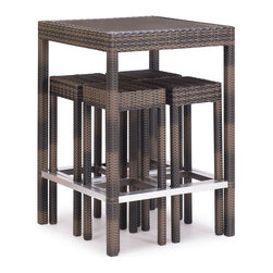 Zuo Modern - Zuo Modern Cinto 5 Piece Bar Set Brown - 5 Piece Bar Set Brown belongs to Cinto Collection by Zuo Modern The Cinto Bar Set has a epoxy coated steel frame with a synthetic weave wrap with polyblend seat cushions. Bar Table (1), Barstool (4)