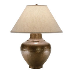 Robert Abbey - Robert Abbey Foundry Horizontally Gifted Pot Table Lamp 9938KCOP - Copper Finish over Cast Metal