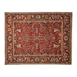 """Oriental Rug Galaxy - 7'9"""" x 10'0"""" Rust Red 100% Wool Serapi Heriz Oriental Rug Hand Knotted - Our Tribal & Geometric hand knotted rug collection, consists of classic rugs woven with geometric patterns based on traditional tribal motifs. You will find Kazak rugs and flat-woven Kilims with centuries-old classic Turkish, Persian, Caucasian and Armenian patterns. The collection also includes the antique, finely-woven Serapi Heriz, the Mamluk, Afghan, and the traditional handmade village Persian rugs."""