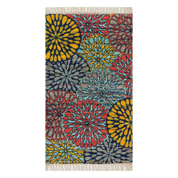 """Loloi Rugs - Loloi Rugs Aria Collection - Light Blue / Multi, 1'-9"""" x 5' - Expressive and relaxed, stylish and fun. The Aria Collection from India has it all. Pretty paisley patterns, flourishing flowers, dreamy damasks and magical medallion designs are printed onto 100% recycled cotton Chindi for scatter rugs that are flirty and fashionable. Dressed in a palette of bold, saturated colors that take you from cool blues and pinks to warm spice tones and modern tropical hues, too, Aria rugs come in select scatter sizes that will accent choice spaces with flair."""