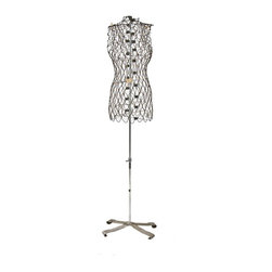 """Garment Racks & Tailor Forms - largely intact c. 1960's vintage industrial freestanding """"my double"""" adjustable dress form with original stand - my double co., inc., stamford, ct."""