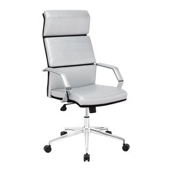 Zuo Modern - Zuo Modern Lider Pro Modern Office Chair X-213502 - This chair has a leatherette wrapped seat and back cushions with chrome solid steel arms with leatherette pads. There is a height and tilt adjustment with a chrome steel rolling base.