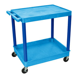 """Luxor - Luxor Tub Cart - BUTC21BU - These Luxor TC series utility carts are made of high density polyethylene structural foam molded plastic shelves and legs that won't stain, scratch, dent or rust. Features a retaining lip around the back and sides of flat shelves. Includes four heavy duty 4"""" casters, two with brake. Has a push handle molded into the top shelf."""