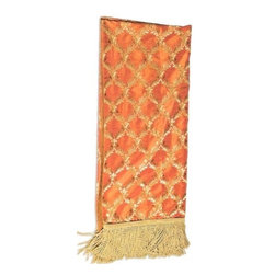 "Canaan - Elegance Spice Vine Leaf Print Throw Blanket - Elegance spice vine leaf print throw blanket with soft liner and bullion fringe trim. Measures 46"" x 68"". These are custom made in the U.S.A and take 4-6 weeks lead time for production."