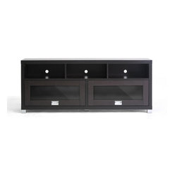 Baxton Studio - Baxton Studio Swindon Modern TV Stand with Glass Doors - Sleek sliding overhead-style glass doors and plentiful storage are the trademarks of the handsome Swindon TV Stand. The entertainment center is made of lapped chipboard with dark brown paper veneer, silver tone hardware, and includes openings in the rear for easy cable management. Clean the TV unit easily with a damp cloth. Made in Malaysia; assembly is required.