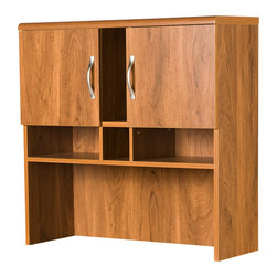 None - Storage Hutch - Keep your belongings neatly organized by putting them in this classic storage hutch. Made of laminated particle board with a beautiful oak finish, this furniture is sure to be appreciated by all who see it. It has a shelf and four cubbyholes.