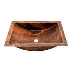 "Artesano Copper Sinks - Rectangular Undermount  Bathroom Copper Sink - Rectangular Undermount  Bathroom Copper Sink 22 x 16 x 5  for Undermount or Dropped In installation, 1.5"" rim,1.5"" drain,  all hand made, all copper, all hammered, gauge 16, inside 19 x 13 x 4.5"""