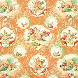 Orange seashell fabric coral seahorse still life, Standard Cut - An orange seashell coral fabric with seahorses. Not just a toss of shells, but a still life with seashells, coral, and seahorses! This is a classic!