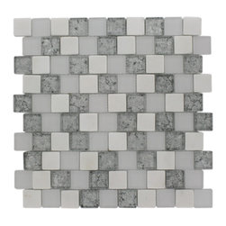 "Vestige Ice Mist Marble & Glass Tiles - VESTIGE ICE MIST TILE This stunning combination of the white thassos with the frosted and polished silver painted foil glass will give any room a modern and contemporary ambience. Add a pop to any room with these beautiful tiles that are versatile; great to use for a backsplash for a kitchen or a fireplace Chip Size: 1.18"" x 1.18"" Color: White, Super White, Silver Material: White Thassos and Glass Finish: Frosted and Polished Sold by the Sheet - each sheet measures 12.5""x12.5"" (1.09sq. ft.) Thickness: 8mm"