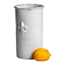 Abigails - Fleur de Lis Wine Cooler - What set of dinnerware is complete without its wine cooler?  A nice subtle ruffle edge and raised Fleur de Lis offer design elements.  Also can be filled with flowers for a change. Made in Italy.