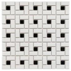 Tile SomerTile 12.5x12.5-in Spiral 1x2-in White/Black Porcelain Mosaic Tile (Pack of