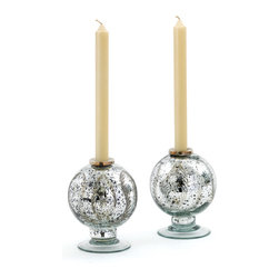 Go Home - Vintage Silver Spherical Candleholder - Silver Spherical Candle holder is made with glass. A unique pattern of trapped ferns is encased within it. Crafted in spherical shape, this holder provides support to your candle.