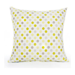 "BH Decor - Green, Gray & Yellow Dotted Throw Pillow Cover - - 16"" square"