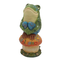Benzara - Frog On Mushroom with Welcome Sign - Flaunting a distinctive and charming design, this PS Frog On Mushroom 8 in. W, 16 in. H garden decor piece is crafted to perfection. A fine combination of durability and style , this stylish garden decor piece is crafted from fine quality wood. This elegant garden decor piece can be incorporated with all modern and casual style outdoor decor settings. The beautiful figurine features an attractive looking frog and mushroom and is decorated with bright colors. A tasteful  in. welcome in.  sign imprinted on the mushroom makes this garden decor piece a perfect addition to entryway setups or patio decor. The durable and sturdy wood used in this figurine is extremely strong and withstands outdoor elements like dust, rain, dew and sunlight for durable, hassle-free use..