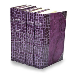 Exotic Croc Collection II - Lilac - Set of 5 - You can, indeed, judge a book by its cover. A visually striking set of decorative tomes, the Exotic Croc Collection - Lilac - Set of 5 makes an impressive graphic statement when placed upon a shelf in an eclectic great room, a window ledge in a home office, a fireplace mantel embellished with objects d'art, or glass-fronted armoire in a personal library.