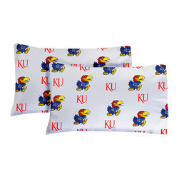 College Covers - NCAA Kansas Jayhawks Pillowcases Two-Pack White Set - Features: