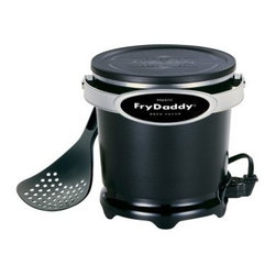 Presto 05420 FryDaddy Deep Fryer - The daddy of all deep fryers! This Presto 05420 FryDaddy Deep Fryer holds four cups of oil, is a breeze to use, and has a snap-on lid to store oil so you can use it again. No controls to set, this fryer keeps the perfect frying temperature, automatically. It comes with a handy scoop to lift and drain (no messy basket) and is nonstick inside and out.About PrestoNational Presto Industries Inc., was founded in Eau Claire, Wis., in 1905 as Northwestern Steel and Iron Works, maker of industrial-size pressure canners for commercial canneries. Ten years later, it began manufacturing large pressure canners for home use. In 1939, the company introduced the first saucepan-style pressure cooker and gave it the trade name Presto. Since then, the company has expanded its product line to include a wide variety of popular cooking gadgets, including electric griddles, pressure cookers, pizza ovens, deep fryers, and more.
