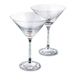 Swarovski - Swarovski Crystalline Cocktail Glasses (Set) - Swarovski Crystalline Cocktail Glasses (Set)  -  Size: 4 7/8 x 6 11/16  -  Fine Silver Crystal  -  Made In Austria  -  Set of two festive cocktail glasses with clear crystal filled stems and faceted clear crystal base.