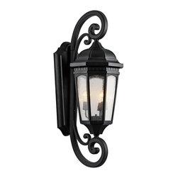 Joshua Marshal - Three Light Textured Black Hanging Lantern - Three Light Textured Black Hanging Lantern