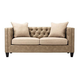 Home Decorators Collection - Lakewood Leather Tufted Sofa - The straight profile of our Lakewood Leather Tufted Sofa lets it slip smoothly into virtually any decorating concept. This elegant piece boasts elegant bonded leather upholstery. The putty finish, deep button tufting and tapered legs add to the luxurious appeal. Cushions and two accent pillows in flax-toned polyester. Wood legs in merlot finish. Padded hardwood frame. 8-gauge sinuous spring support system. Plump 5-ply cushions. Made in the USA.