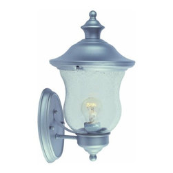 DHI-Corp - Highland Outdoor Uplight, 7.5-inch by 13-inch, Heritage Silver - The Design House 508978 Highland Outdoor Uplight greets your guests at the door with a soft, inviting glow. Heritage silver finish, seedy glass and crisp details combine to create a classic look to match any style of home. Cone-shaped design and subtle curved details will illuminate a front porch or backyard deck. Measuring 7.5-inches by 13-inches, this lamp matches brick, stone, wood paneling or aluminum siding. This wall mount features one 100-watt medium base incandescent lamp and is rated for 120-volts. UL listed and UL approved for wet areas, this uplight will not break or rust in harsh weather conditions. The Design House 508978 Highland Outdoor Uplight comes with a 10-year limited warranty that protects against defects in materials and workmanship. Design House offers products in multiple home decor Categories including lighting, ceiling fans, hardware and plumbing products. With years of hands-on experience, Design House understands every aspect of the home decor industry, and devotes itself to providing quality products across the home decor spectrum. Providing value to their customers, Design House uses industry leading merchandising solutions and innovative programs. Design House is committed to providing high quality products for your home improvement projects.
