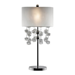 Warehouse of Tiffany - Crystal Shireen Table Lamp - This Crystal Shireen Table Lamp is a modern take on mid-century style. The lamp boasts a hip retro feel with the fabric shade and dripping crystals from the center. Setting: IndoorFixture finish: ChromeNumber of lights: One (1)Requires one (1) 60-watt bulb (not included)Shade: 9 inches in heightDimensions: 32 inches high x 14 inch diameter shadeMaterials: Metal, glass, and fabricCSA Listed, ETL Listed, UL Listed
