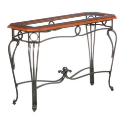 Holly & Martin - Newcastle Sofa Table - Legs like Cyd Charisse and a dark cherry-trim glass top will enliven your decorating repertoire. Classically trained like the dancer, this sofa table will dance rings around your coffee table and make you want to sing and dance in the rain.