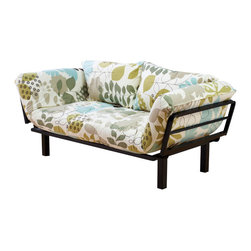 Kodiak Furniture - Spacely Futon Lounger in English Garden - The beauty of blooming gardens will fill your living room with this unique Spacely Futon Lounger. The futon comes with metal frame in black finish with five position adjustable side arms and mattress in English Garden finish cover. High density foam provides the highest level of comfort. The futon is made of only quality materials to serve you for years to come.