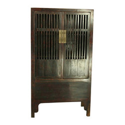 Pre-owned Antique Chinese Kitchen Cabinet Armoire W - A rare and special antique Chinese kitchen cabinet armoire or wardrobe in elm dating to 1880 from the Henan Province, with slatted doors to allow air flow to preserve food.    Overall Condition is Restored. Shows normal wear to the finish, three areas of wood separation on the two front doors, and minor damage to the back right foot due to age and use. The three metal pin holes on the front of the cabinet where the pin slides in to hold the doors closed are slightly out of alignment, making it slightly difficult to pull the pin in and out. However, the doors will remain closed without the pin. The central stile is removable and there is a panel in the bottom that lifts for additional storage in the bottom of the cabinet.