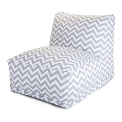 Majestic Home - Outdoor Gray Chevron Bean Bag Chair Lounger - Add style and functionality to your living room, family room or outdoor patio with the Majestic Home Goods Bean Bag Chair Lounger. This Beanbag Chair has the design of modern furniture, while still giving the comfort of a classic bean bag. Woven from outdoor treated polyester, these loungers have up to 1000 hours of U.V. protection and are able to withstand all of natures elements. The beanbag inserts are eco-friendly by using up to 50% recycled polystyrene beads, and the removable zippered slipcovers are conveniently machine-washable.