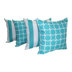 "Land of Pillows - 2"" Vertical Stripe Ocean and Linked Ocean Aqua Outdoor Throw Pillow - Set of 4, - Fabric Designer - Premier Prints"