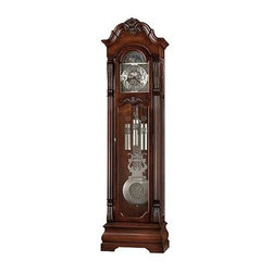 Howard Miller - Howard Miller - Neilson Floor Clock - This stately solid hardwood grandfather clock is finished in Embassy Cherry with complementary brushed nickel hardware, dial and pendulum. The beautiful, quality crafted heirloom clock features an illuminated dial for night viewing and an automatic nighttime chime shut-off option. * The distinctive bonnet pediment of this floor clock features a dramatic carved shell framed by stepped swan neck pediment moldings. The brushed nickel dial features corner and center ornaments and a moon arch with an astrological blue moon phase. The dial includes a silver chapter ring with applied satin black finished Arabic numerals. The brushed nickel finished pendulum features a center disk to complement the dial. Brushed nickel finished weight shells include bands which coordinate with the dial and pendulum. Beveled glass is featured in the lower door and sides. The soft curves of the pediment are repeated in the mid door rail, which also features a shell and vine overlay. Removable fret-cut top side panels with glass allow for easy access to the movement. The reeded columns feature heavily detailed acanthus leaf top and bottom caps. A bomb̩ base design features a decorative cut-out. Heirloom Record Certificate with nickel finished tube is included for recording your clock's ownership history for future generations. Finished in Embassy Cherry on select hardwoods and veneers. Automatic nighttime chime shut-off option. Illuminated dial for viewing in a darkened room. Adjustable levelers under each corner provide stability on uneven and carpeted floors. You will receive a free heirloom plate, engraved with name and date, by returning the enclosed request card to Howard Miller. Locking door for added security. Cable-driven, Westminster chime Kieninger movement with automatic nighttime chime shut-off option84.25 in. H x 23 in. W x 13.75 in. D