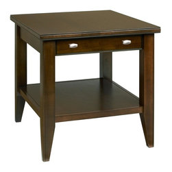 A.A. Laun Furniture - Tribeca End Table w Drawer (Coffee) - Finish: Coffee. Pictured in Brandywine color. Contemporary style. 1.5 in. solid maple top, drawer front and legs. Maple veneer sides, rails and shelf. Made by traditional quality craftsmanship. Made from solid maple wood. Made in USA. 26 in. W x 24 in. D x 25 in. HTribeca is our metropolitan group with contemporary brushed nickel pulls