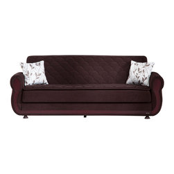 Istikbal - Argos Colins Brown Sofa Sleeper - Exceptionally comfortable and versatile for you and your family, the Argos Collection has superior frame construction, tufted plush padding, a curvy contour and is masterfully applied espresso-colored detailing. Create the living room you always desired with the rich traditional style of the Argos Colins Brown Sofa Sleeper. Argos features an innerspring sleep surface, easy to operate, click-clack mechanism and easy to access storage. Steel innerspring coils with wrapped foam fill. Contemporary upholstery with exclusive tailoring and fine detailing.